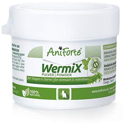 AniForte WermiX Polvere per Gatti 25g - Prodotto Naturale Prima, Durante e Dopo l'infestazione da Vermi con saponine, Sostanze Amare, tannini, Erbe Naturali armonizzano Stomaco e intestino
