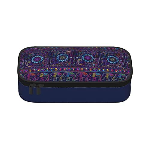 Trousse à crayons en tissu Oxford avec fermeture éclair Motif éléphant mandala mystère 8,3 × 3,9 × 2