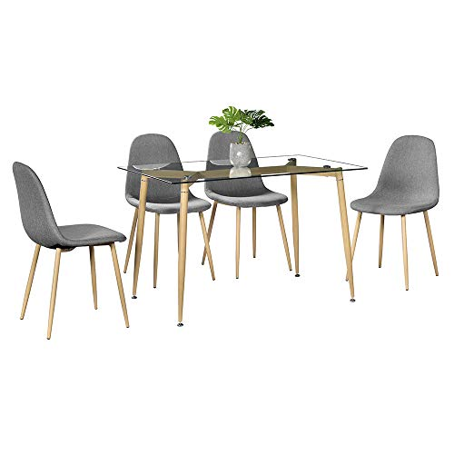 Rectangular Dining Table and Transparent Tempered Glass Dinner Table 4pcs Modern Style Simple Dining Chair for Office Lounge Dining Kitchen
