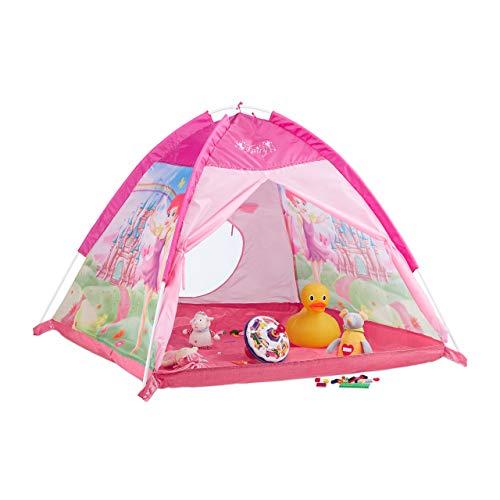 Relaxdays Spielzelt für Mädchen, Kinderspielzeit mit Feen-Schloss, Spielhaus für Innen & Außen, HBT 90x118x115 cm, Pink