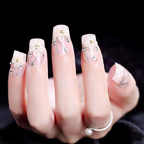CLOAAE Girls 24pcs DIY Natural Fake Nails 3D Flower Simulation Pearl False Nails Ladies Fashion Nail Art Tips with