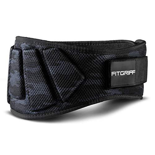 Fitgriff® Gewichthebergürtel V1 - Fitness-Gürtel für Bodybuilding, Krafttraining, Gewichtheben und Crossfit Training - Trainingsgürtel für Damen und Herren (Camo-Black, X-Large)