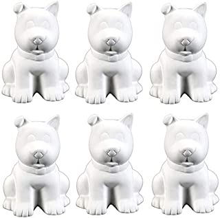 Creative Hobbies Sitting Puppy Dog Bank, Case of 6, Unfinished Ceramic Bisque, with How to Paint Your Own Pottery Booklet