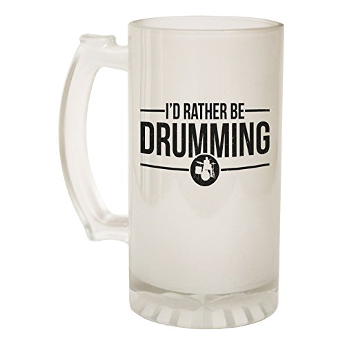 123t Beer Stein 16oz - Frosted Glass Rather Be Drumming Drummer Funny Novelty Birthday Joke dad Grandad Uncle Christmas Pitcher tankard