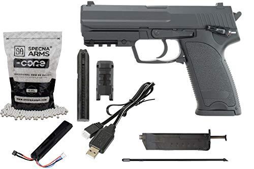 Softair Cyma CM125 Gen.3 Lipo & Mosfet Metall HK USP Replika Pistole AEP Airsoft Set + 5000 Stück 0.20g Softairkugeln inkl. Lipo Akku & Ladegerät Vollautomatisch & Semi Kal. 6mm BB<0,5J Schwarz