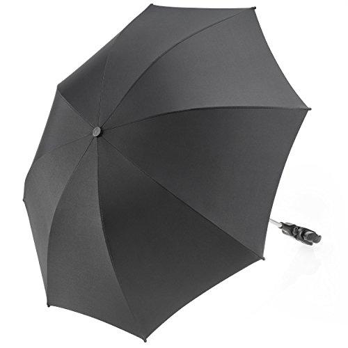 Universal Sonnenschirm Sonnenschutz für Kinderwagen & Buggy - UV Schutz 50+ / 73 cm Durchmesser - Biegsamer Schirm mit Universalhalterung für Rund- und Ovalrohre - Schwarz