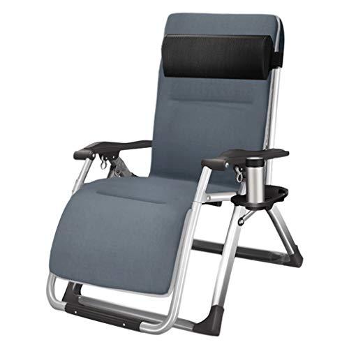 Bains de Soleil Fauteuil Inclinable Pliant Personnes Accueil Pause Déjeuner Siesta Bed Office Adulte Cool Chair Multifonction Portable (Color : Gray)
