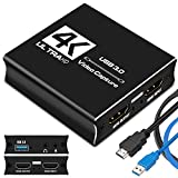 IPXOZO Audio Video Capture Card,4K HDMI Capture Adapter USB 3.0 Capture Card with Mic Jack 1080P 60fps Video Recorder for Gaming Live Streaming Video Conference,Support PS4/Xbox One/OBS/PC/Camera