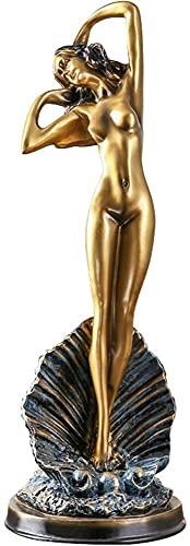 Chica Escultura Ornamento Resina Oficina Sala Estar Gabinete Vino Artesanía Doméstica TV Gabinete Escritorio Estudio Pórtico Dorado 14.5x43cm MUMUJIN