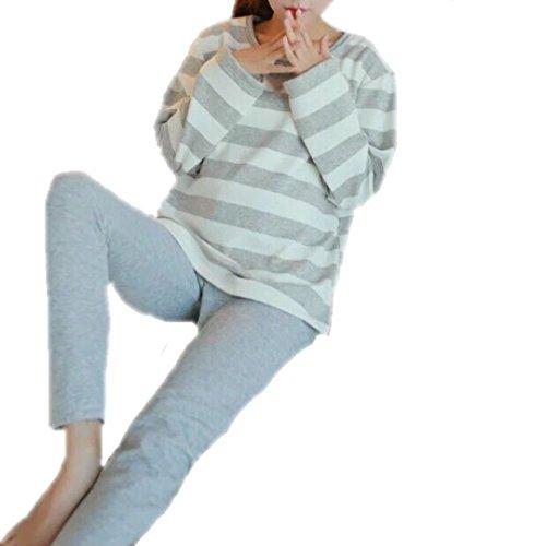Spinas(スピナス) マタニティ ルームウェア 授乳口付き 裏 起毛 ボア コットン 綿 産前産後 セットアップ ボーダー おしゃれ かわいい シンプル 秋 冬 2color 【 ネイビー 】 寒い 授乳 とはおさらば! あったか 寝巻 はこれ! (M