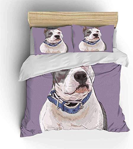 BBLTO Juego de funda de edredón 3D, diseño de perro con impresión en 3D, suave y lujosa, de calidad, cómoda funda de edredón (sin sábanas), morada, USQueen (90 x 90 pulgadas), como regalo