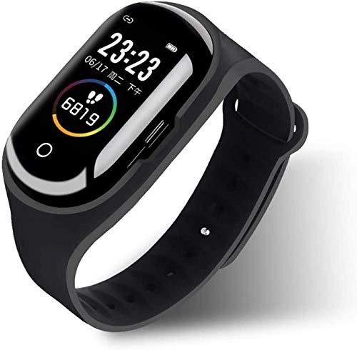 DHTOMC Reloj inteligente pantalla de color reloj táctil bluetooth auricular 2 en 1 deportes sueño monitoreo podómetro pulsera fitness tracker con auriculares deportes negocios pulsera alta gama negro