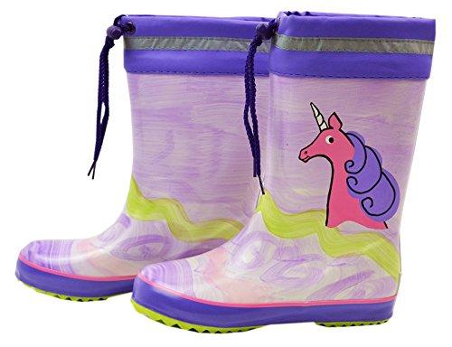 MaxiMo - Stivali in gomma naturale per bambini, motivo unicorno, 100% PL con risvolto dipinto a mano, ogni stivale è un pezzo unico, misura 20 e 21