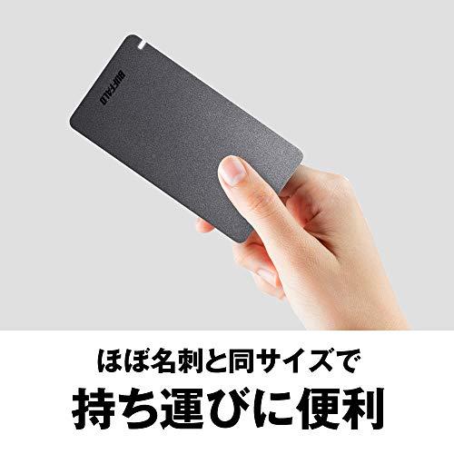 BUFFALO USB3.2Gen2 外付SSD 480GB 名刺サイズ 日本製 PS4(メーカー動作確認済) 耐衝撃・コネクター保護機構 ブラック SSD-PGM480U3-B/N