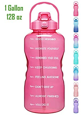 Venture Pal 1 Gallon Large Motivational Sports Water Bottle with Time Marker & Straw, Leakproof BPA Free Reusable Fitness Water Jug for Gym,Work and Outdoor Sports-Pink