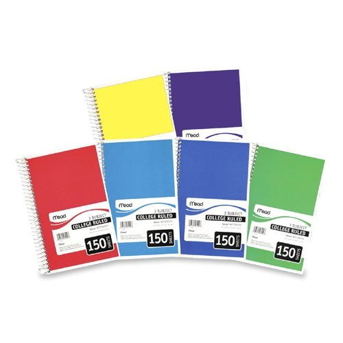 Mead 3-Subject Wirebound College Ruled Notebook - 150 Sheet - College Ruled - 6