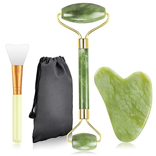 Jade Roller für Gesicht, Gesichtsmassagegerät Schaben Stein Massageset mit Maskenpinsel Set Natürlicher Jade Stein Massage Werkzeug für Anti-Aging