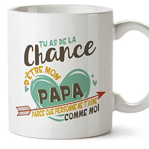 Mugffins Papa Tasse/Mug - Tu as de la Chance dêtre Mon Papa - Tasse Originale/Idee Fête des Pères/Cadeau Anniversaire/Future Papa. Céramique 350