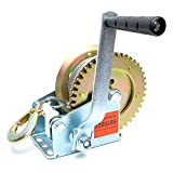 Heavy Duty Hand Winch 600lbs Hand Crank Strap Cable Gear Winch Towing Winches ATV Boat Trailer (1200 lbs)