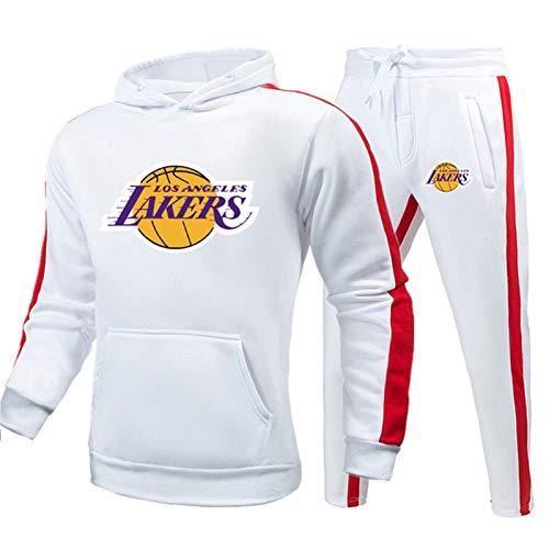 TIANYO Conjunto de chándal de baloncesto de James Kobe ropa deportiva con costuras de color con capucha y pantalones de entrenamiento para aficionados, cómodo blanco-XXL