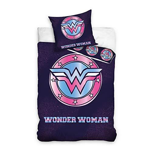 Carbotex Wonder Woman - Juego de cama (140 x 200 cm), diseño con logotipo de DC Comics