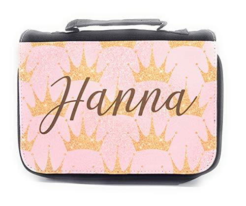 Kulturbeutel Prinzessin mit Wunschnamen personalisiert I Waschbeutel mit goldenen Krönchen und Name/rosa Reise-Kulturtasche Mädchen