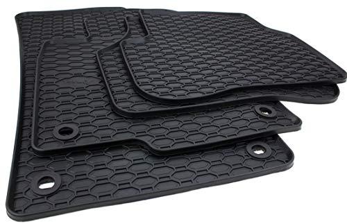 Kfzpremiumteile24 Gummimatten Kompatibel mit Golf 5 1K Golf 6 5K Jetta Scirocco Premium Fußmatten Allwetter Gummi Drehknebel Oval