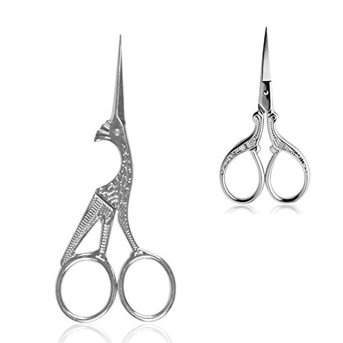 BIHRTC 4.5 Inch Bird Sewing Scissors and 3.6 Inch Embroidery Scissors Stainless Steel Sharp Tip Classic Stork Scissors DIY Tools Dressmaker Shears Scissors for Sewing Craft Needpoint Silver Scissors