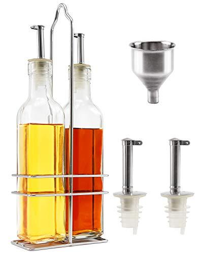 Cosyres Olivenöl-Flaschen-Spender-Set aus Glas mit Edelstahl-Ständer, 250 ml Öl- und Essig-Flaschen-Set mit Trichter