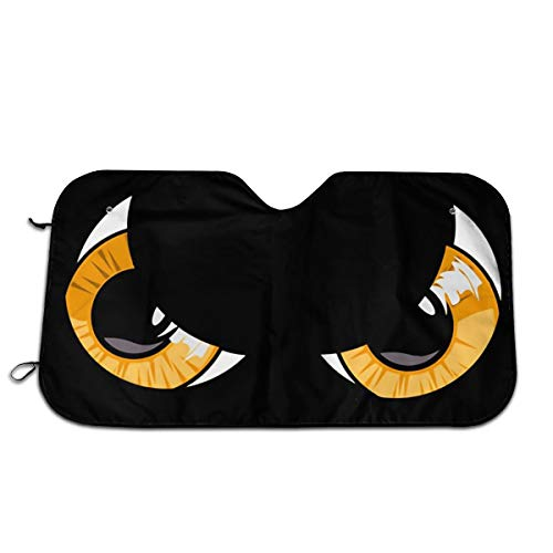 Cartoon Angry Mad Eyes Face Themed Wind Sun Shade Car Windows Interior Cover Visor Kit Ornament Decor Outdoor Vehicle Accessories Sunshade Auto for Women Men