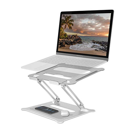 Hosaud Laptop Stand, Aluminum Computer Riser Multi-Angle Stand with Heat-Vent to Elevate Laptop, Adjustable Notebook Stand for Laptop up to 17 inches, Laptop Holder Compatible for MacBook, HP Laptop