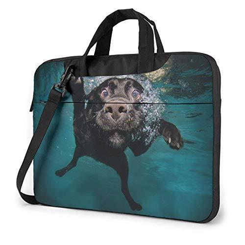 Black Retriever Underwater Dog Funda para portátil de 14 Pulgadas, Elegante y Lindo Bolso de Neopreno para portátil