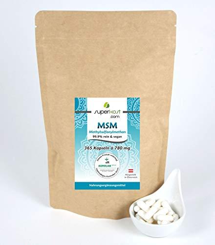 365 vegane Kapseln MSM mit 1560 mg pro Tagesdosis, von deutschen Labor Zertifiziert, organischer Schwefel, Methylsulfonylmethan (MSM), Hochdosiert, Hergestellt in Österreich