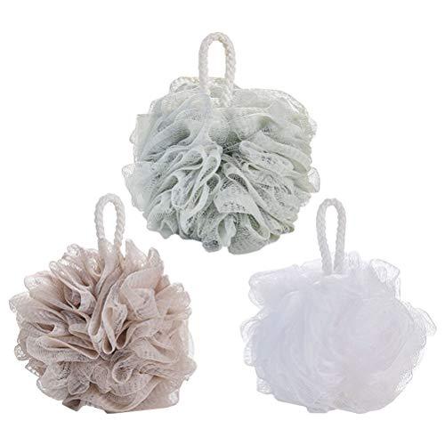 4pcs simple grande boule de bain douce couleur unie maille éponge maille pouf douche boule (blanc + vert + gris bleu + kaki)