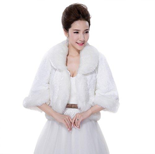 JUNGEN Elegante chaqueta de abrigo para vestido de boda invierno blanco