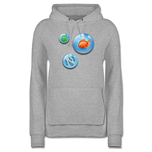 Sonstige Tiere - Aquarium Bubbles Fische - XL - Grau meliert - Fisch - JH001F - Damen Hoodie und Kapuzenpullover für Frauen