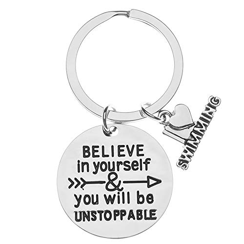 Sportybella Swim Charm Keychain, Inspirational Believe in Yourself & You Will Be Unstoppable Jewelry, Swim Gifts for Swimmers & Swim Teams