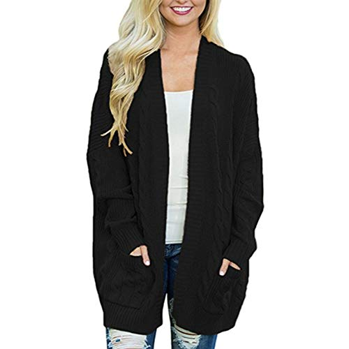 YZANYFQH OtoñO Invierno Mujer Casual Mid-Length Plus Size Doble Bolsillo Twist Knitted Cardigan Chaqueta Color SóLido SuéTer SuéTer Mujer
