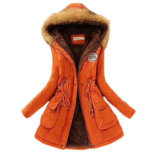 Soluo Womens Warm Fur Collar Long Coat Winter Slim Hoodie Fur Collar Drawstring Jacket Long Versatile Parka Outwear - orange - XL