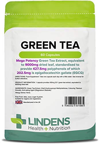 Lindens Green Tea 9000mg High Strength Capsules - 60 Pack - Super High Strength and High Polyphenol Yield of 427mg & High Egcg Yield 203mg - UK Manufacturer, Letterbox Friendly