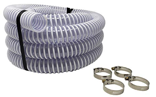 Sealproof 1.5' Pool Filter Pump Connection Hose for Above Ground Pools, 20 FT x 1-1/2 Inch Premium Quality Kinkproof PVC, Made in USA | Cut to Desired Length, Includes 4 Hose Clamps
