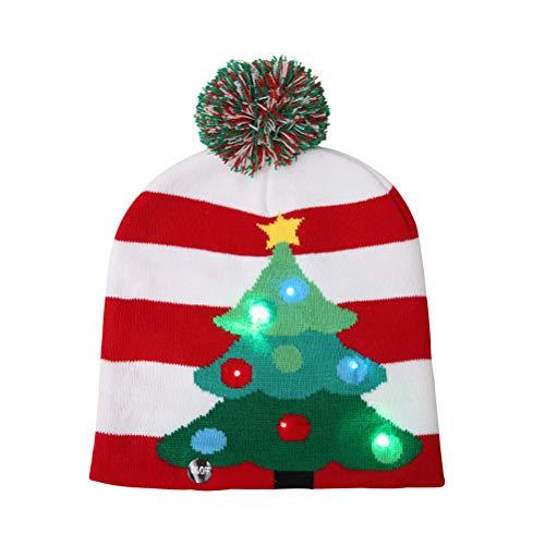 BESTOYARD LED Weihnachtsmütze Gestrickte Hut Weihnachten Kostüm für Winter Party (Weihnachtsbaum)