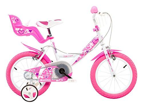 Dino Bikes Bambina, Bici Dino 14' Bimba Rosa Scuro 4-6 Anni con Rotelle, 3
