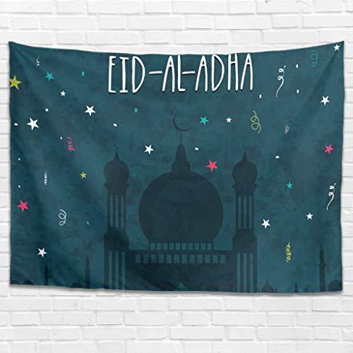 Dofeely Lasser Bairam Tapestry Iftar Bed Sheet Throw Bedspread, Home Dekorationen für Wohnzimmer Schlafzimmer Wohnheim Decor White 200x150cm