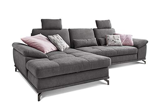 Cavadore L-Form-Sofa Castiel mit Federkern, Großes Schlafsofa in L-Form mit Bettkasten, Sitztiefenverstellung, Kopfstützen und XL-Longchair, 312 x 114 x 173, Webstoff, grau