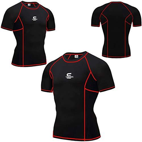 SAWANS - Maglia a Compressione da Uomo, per Palestra, Corsa, Sport, Fitness, Allenamento, Manica Corta Nero/Rosso, S