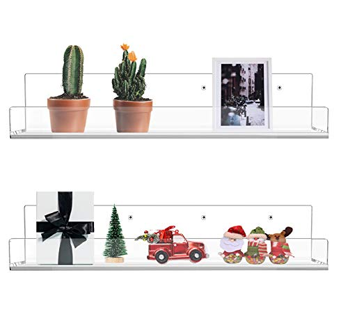 WINKINE Wandmontiertes Bücherregal aus Acryl, schwebend, 2 Stück, 91 cm, kristallklares Acryl-Badregal, Aufbewahrungsregal, Make-up-Organizer, Gewürzregal, Wandregal, Bücherregal für Kinder