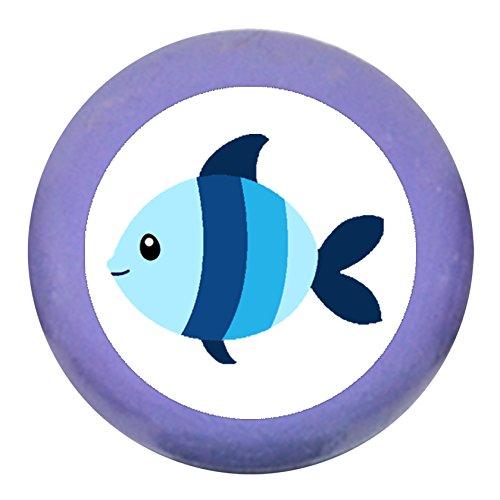 Türgriff Möbelknauf Möbelknopf Möbelgriff Jungen hellblau dunkelblau blau Massivholz Buche - Kinder Kinderzimmer Fisch blau hellblau gestreift Meerestiere maritim - lila