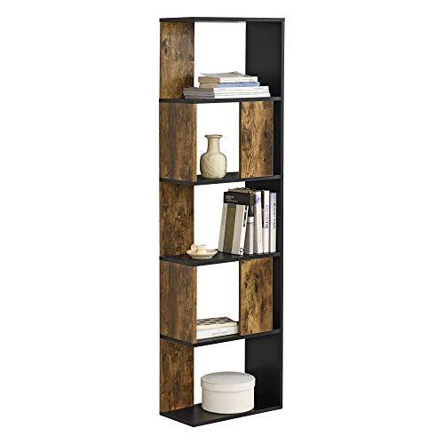 [en.casa] Bücherregal Aneby 159x45x24cm Standregal mit 5 Ablageflächen Regal Schwarz/Holz Dunkel