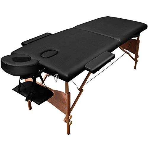 Giantex Folding Massage Table 84'' Professional Massage Bed 2 Fold with Head-& Armrest Free Carry Case Chair Spa Facial Beds, Black